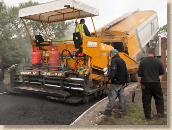 paver machine laying bitmac