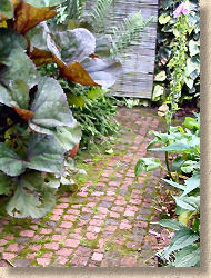 clay pavers on garden path