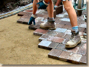 hand lay paving