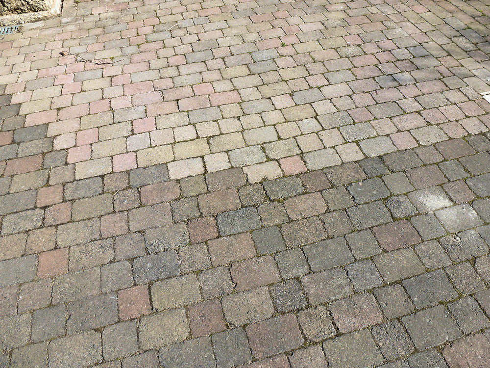 old and new tumbled pavers