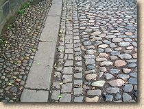 cobbled path and road