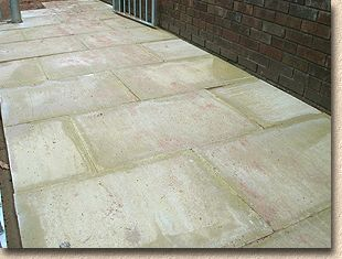 efflorescence affecting pressed concrete flags