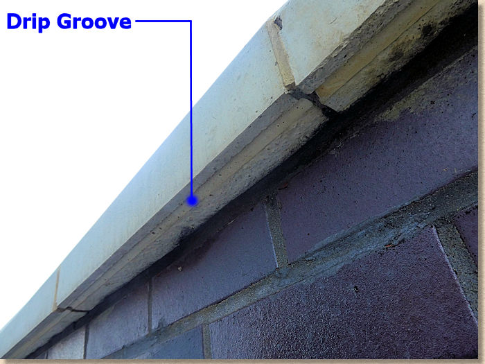 drip groove on concrete coping