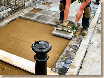 laying small element paving