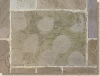 reflective stain on stone flag