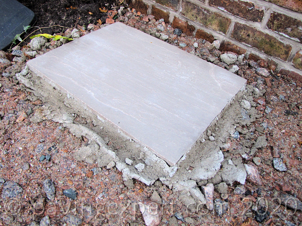 stepping stone on mortar bed