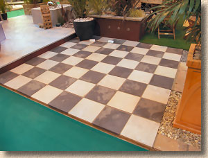Chess board paving