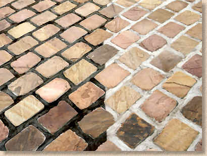 how to clean mortar off flagstone