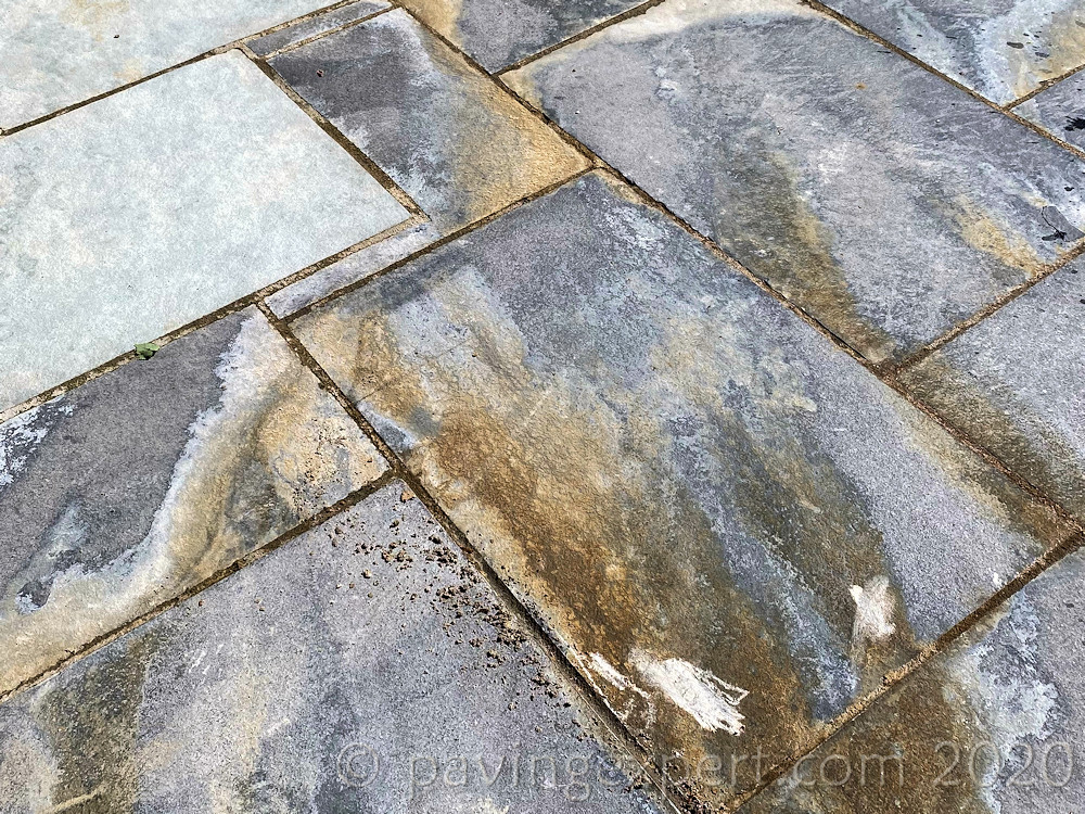 leachate staining slate paving