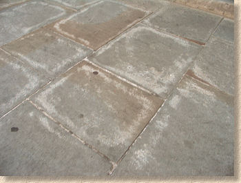 stained yorkstone flags