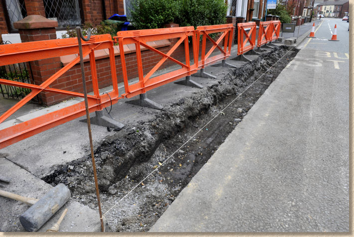 excavate for bus stop kerb