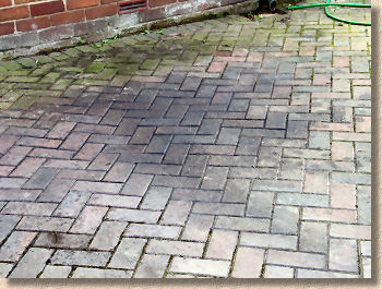 oil stained pavers