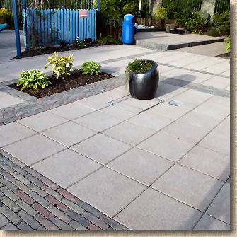 retro pavers and mayfair flags