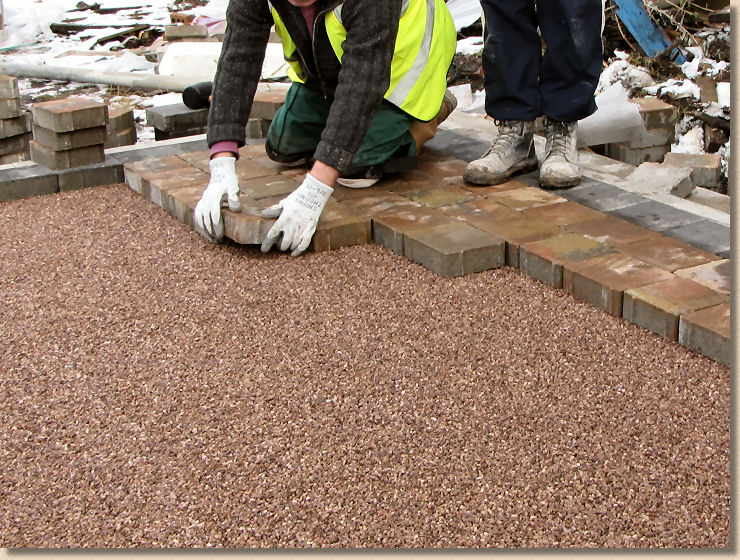 laying permeable blocks