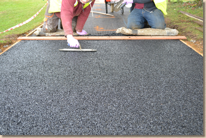 floating the resin bound paving