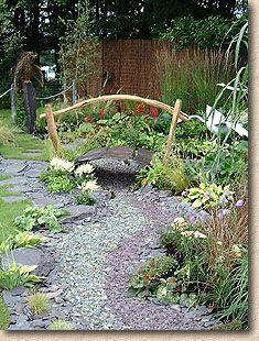 Decorative Slate Mulch In A Garden
