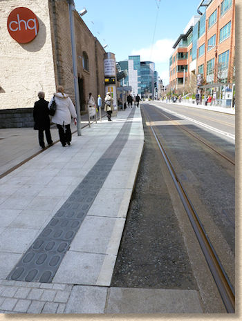 charcoal lozenge paving at dublin luas stop