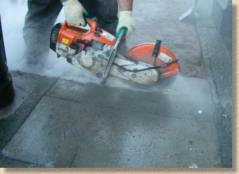 dust from cutting concrete flags