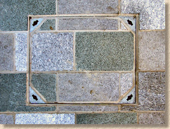 recess tray cover in granite paving
